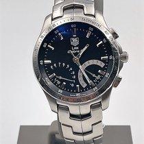TAG Heuer Link Quartz pre-owned 42mm Black Chronograph Date Perpetual calendar Tachymeter Steel