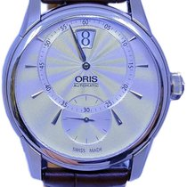Oris Artelier pre-owned 40.5mm Silver Jumping hour Leather