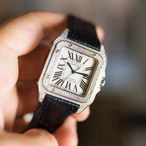 Cartier Белое золото Автоподзавод Cеребро Римские 35mm подержанные Santos 100