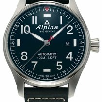 Alpina Startimer Pilot Automatic Сталь 44mm Синий Aрабские