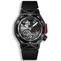 Hublot Techframe Ferrari Tourbillon Chronograph Carbon 45mm Schwarz