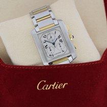 Cartier Tank Française Gold/Stahl 28mm Weiß