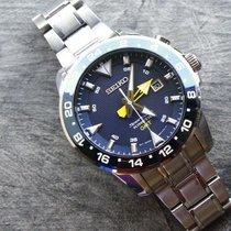 Seiko Sportura pre-owned 44mm Blue Date GMT Titanium