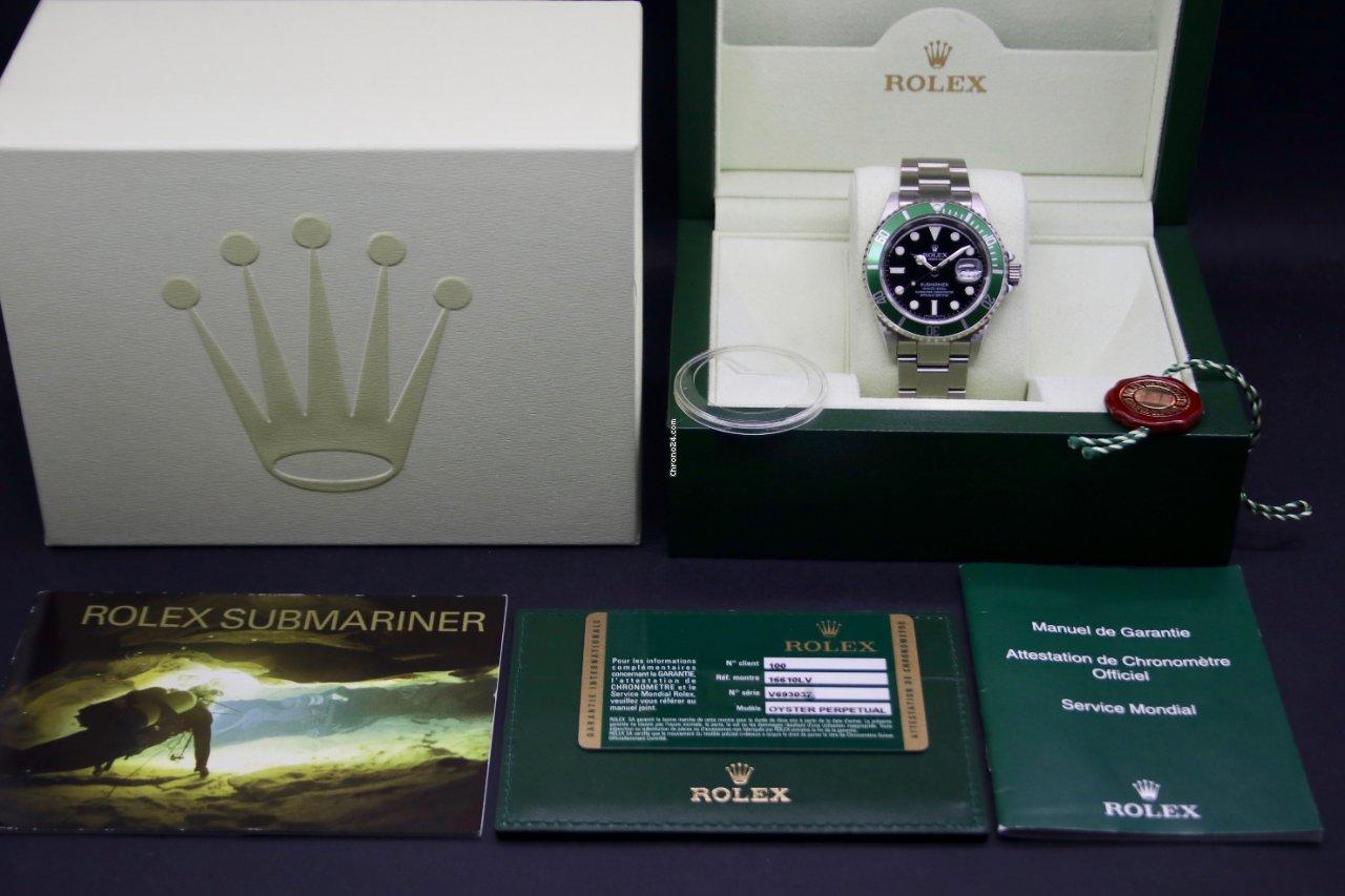 Rolex Submariner Date 16610LV Kermit 2009 nuevo