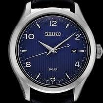 Seiko Solar Steel 42mm Blue Arabic numerals