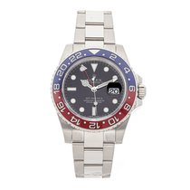 Rolex White gold Automatic Black No numerals 40mm pre-owned GMT-Master II