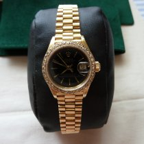 Rolex Yellow gold Automatic Black 26mm pre-owned Lady-Datejust