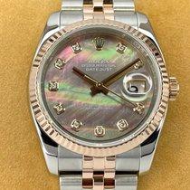 Rolex Datejust Or/Acier 36mm Nacre Sans chiffres