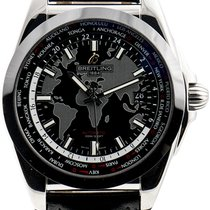 Breitling Galactic Unitime pre-owned 44mm Black Leather