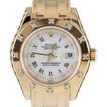 Rolex Lady-Datejust Pearlmaster Ouro amarelo 29mm Branco