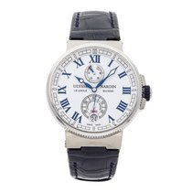Ulysse Nardin Marine Chronometer Manufacture occasion 43mm Blanc Date Cuir de crocodile