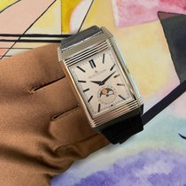 Jaeger-LeCoultre Reverso (submodel) pre-owned 49.4mm Silver Moon phase Date Fold clasp