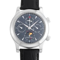 Jaeger-LeCoultre Master Memovox pre-owned 41.5mm Blue Moon phase Date Month Year Perpetual calendar Alarm Leather