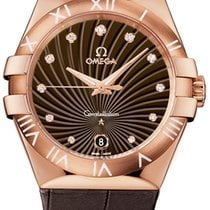 Omega Pозовое золото Кварцевые Коричневый 35mm новые Constellation Quartz