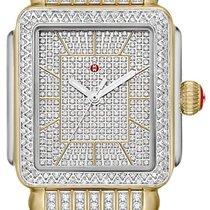 Michele Yellow gold Quartz Silver 33mm new Deco