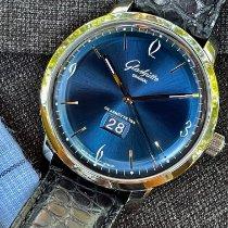 Glashütte Original Sixties Panorama Date pre-owned 42mm Blue Date Crocodile skin