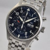 IWC Pilot Chronograph pre-owned 43mm Blue Chronograph Date Weekday Steel