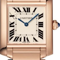 Cartier Rose gold Quartz Silver 25mm new Tank Française