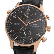IWC Portuguese Chronograph Aur roz 41mm Negru Arabic