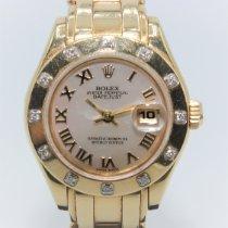 Rolex Lady-Datejust Pearlmaster Gelbgold 29mm Perlmutt Römisch