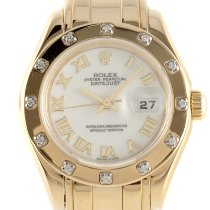 Rolex Lady-Datejust Pearlmaster Yellow gold 28mm White