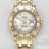 Rolex Lady-Datejust Pearlmaster Ouro amarelo 26mm Prata Romanos