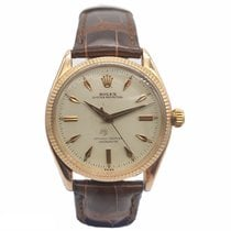 Rolex Rose gold Automatic Champagne No numerals 34mm pre-owned Oyster Perpetual