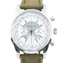 Breitling Transocean Chronograph Unitime Steel 46mm Silver