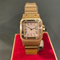 Cartier Santos Galbée Желтое золото 24mm Белый Римские