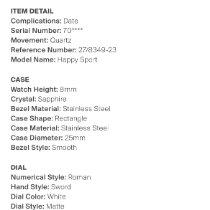 Chopard 27/8349-23 Staal Happy Sport 27mm tweedehands
