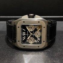 Cartier Santos 100 Сталь 55mm Черный Римские