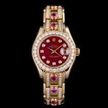 Rolex Lady-Datejust Pearlmaster подержанные 29mm Фиолетовый Дата Желтое золото