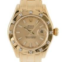 Rolex Lady-Datejust Pearlmaster подержанные 29mm Золотой Дата Желтое золото