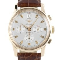 Longines Red gold Automatic Silver 38.5mm pre-owned Conquest Heritage