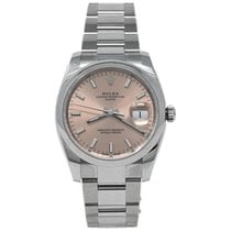 Rolex Oyster Perpetual Date Steel 34mm Pink No numerals