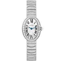 Cartier nové Quartz Osazení drahokamy a diamanty 25.3mm Bílé zlato Safírové sklo