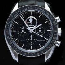Omega Speedmaster Professional Moonwatch Moonphase pre-owned Black Moon phase Chronograph Date Crocodile skin