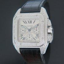 Cartier Santos 100 подержанные 55mm Cеребро Хронограф Дата Телячья кожа