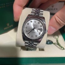 Rolex White gold Automatic Silver No numerals 36mm pre-owned Datejust