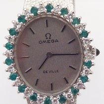 Omega nuevo Cuerda manual Con piedras preciosas y diamantes Estado original/piezas originales 22mm Oro blanco Cristal