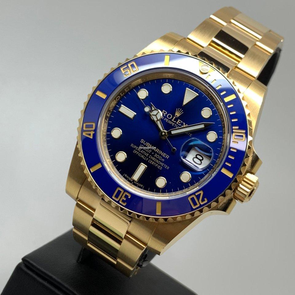 Rolex Submariner Date 40mm 18K Gold Blue 06/2020 FULL SET LC EU LIKE NEW
