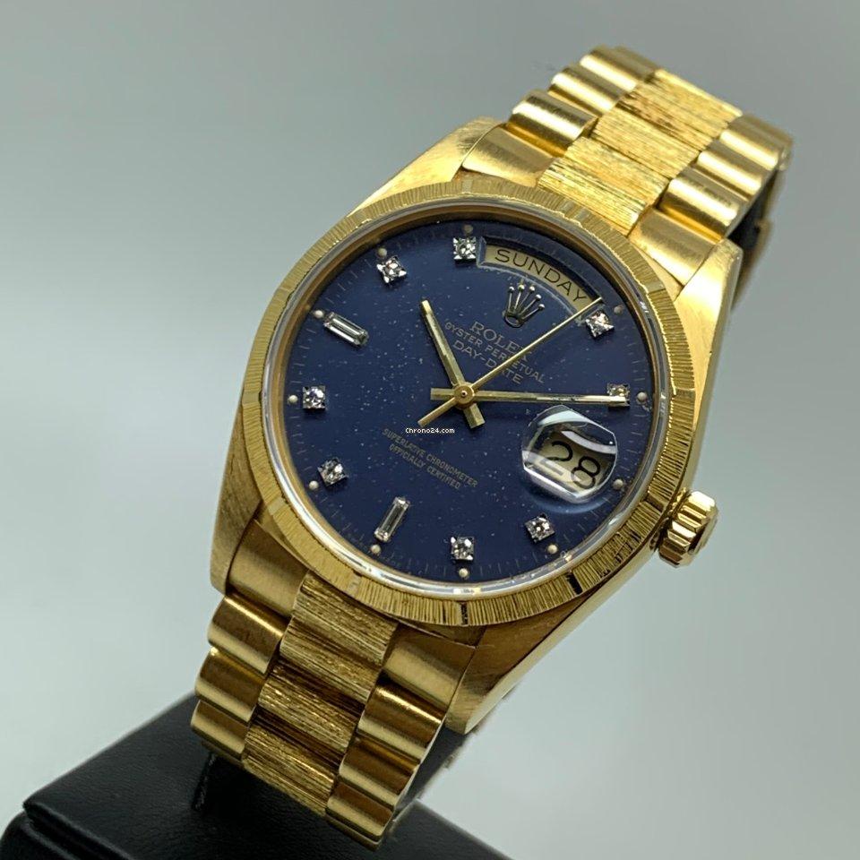 Rolex Day-Date 36mm 18K Gold Blue Diamond Dial Bark 1985 FULL SET LC EU UNPOLISHED MINT