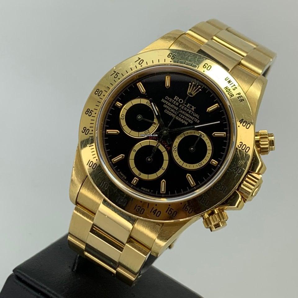Rolex Daytona 18K Gold 16528 Zenith 1994 Black Inverted Six 6 UNPOLISHED MINT
