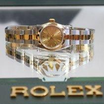 Rolex Oyster Perpetual Zlato/Ocel 24.5mm Šampaňská barva Bez čísel