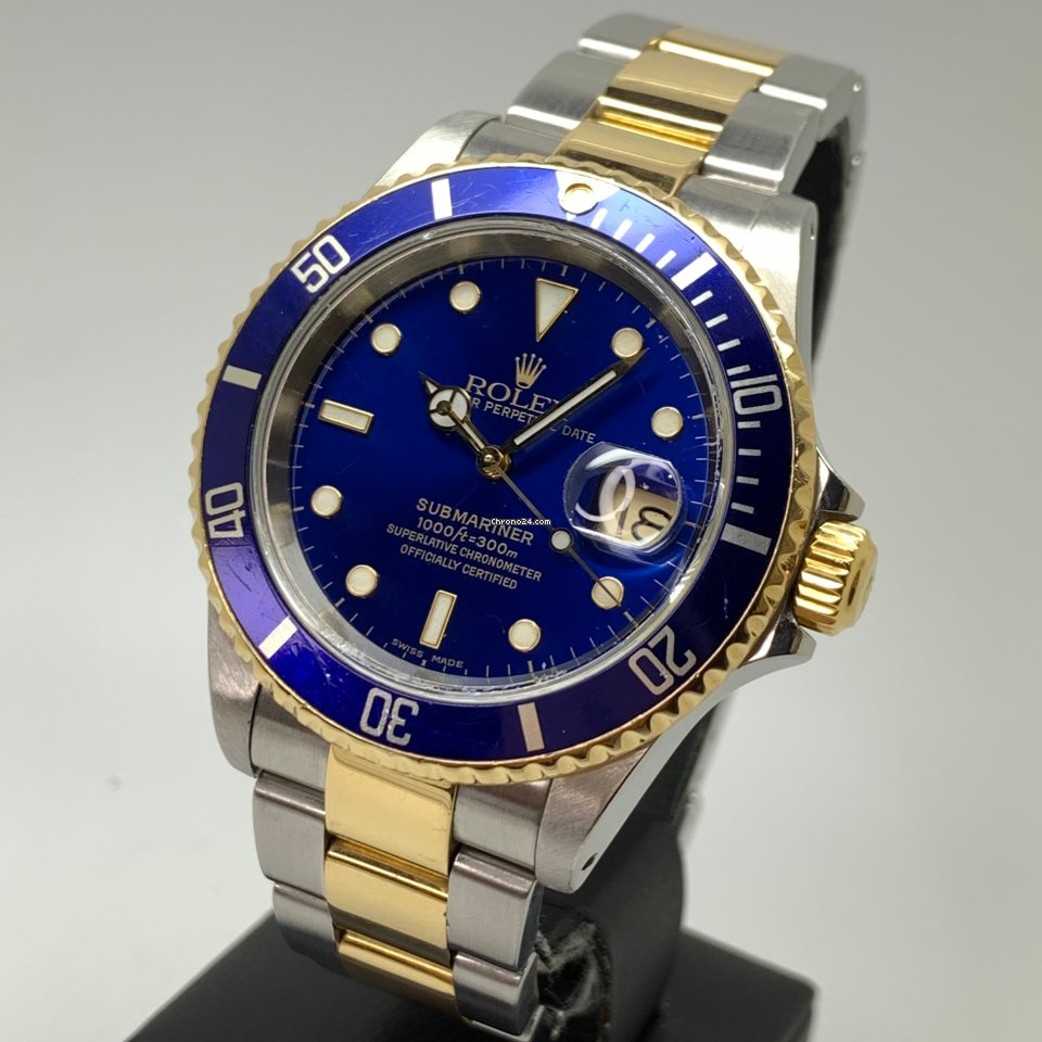 Rolex Submariner Date 40mm 16613 from 2000 Gold Steel Blue
