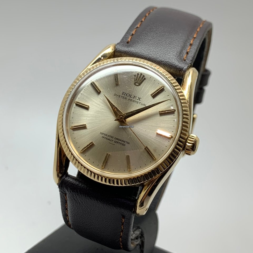 """Rolex Oyster Perpetual Rare 14K Gold 6590-6593 """"Bombay"""" from 1951"""