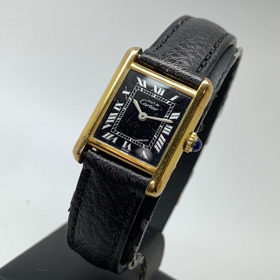 Cartier Tank Vermeil Must De Argent Silver Gold Plated Manual wind