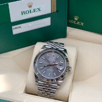 Rolex White gold Automatic Grey No numerals 41mm pre-owned Datejust II