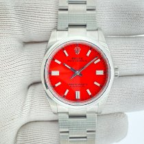 Rolex Oyster Perpetual 36 Сталь 36mm Красный Без цифр
