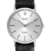 Rolex Cellini pre-owned 32mm Silver Leather